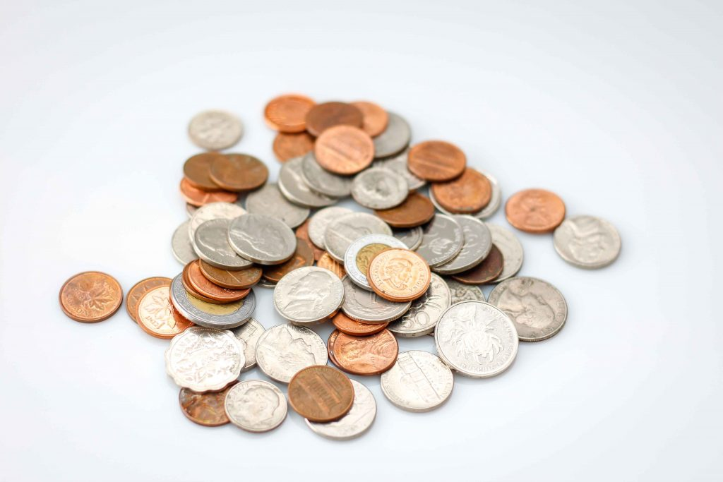 Small Pile of Coins from Multiple Countries