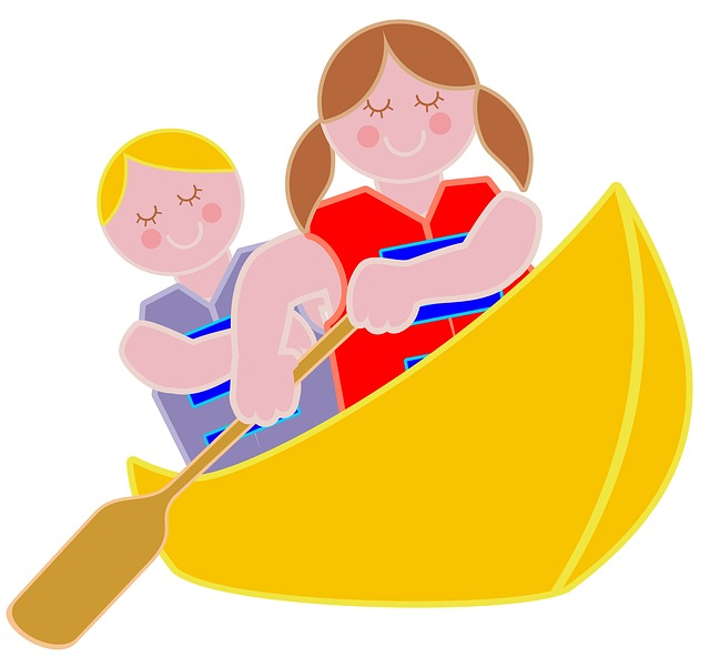 Illustration of scouts in a canoe