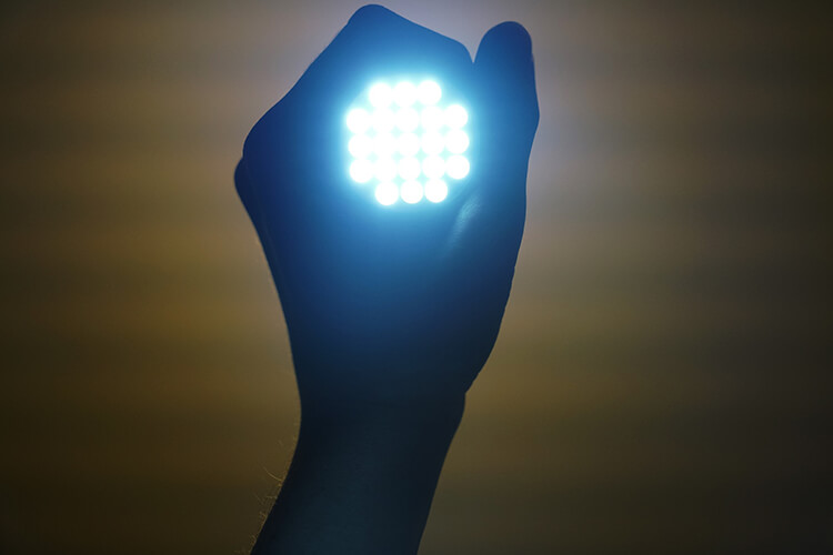 LED light held in a hand