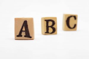 out of focus letters a, b, c