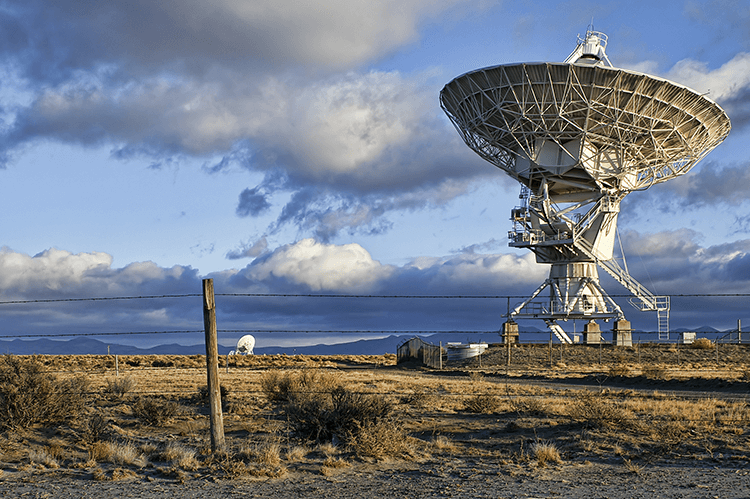 A radio telescope is an interesting and uncommon photo subject.