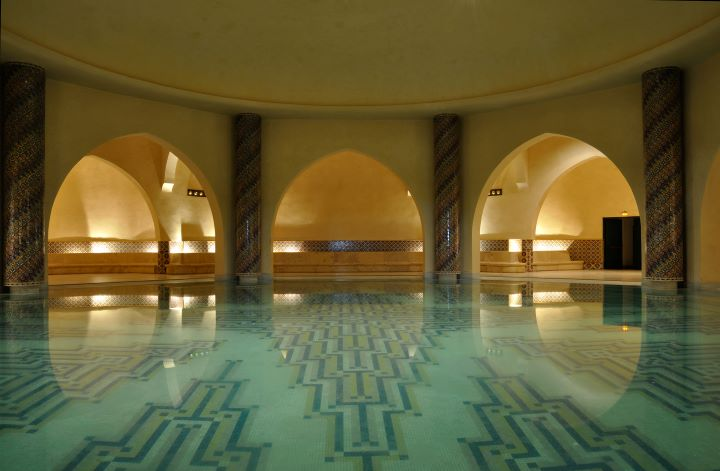 Interior of Turkish bath in Morocco