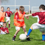 young boys playing soccer