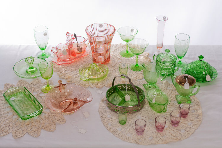 variety of depression glass pieces