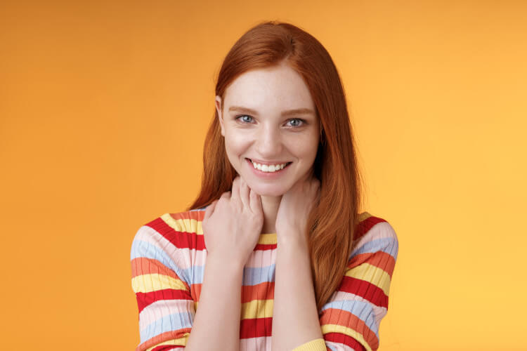 happy young redhead lady